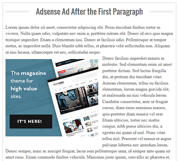 how to add adsense inside posts after first paragraph