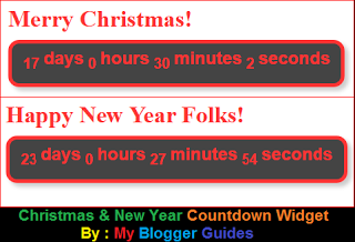 Countdown Widget, Happy New Year, Merry Christmas
