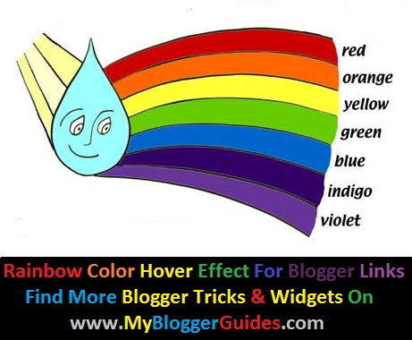 How To Add Rainbow Color Mouse Hover Effect to Links in Blogger Blog
