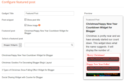 Setting for Blogger's Featured Post Widget