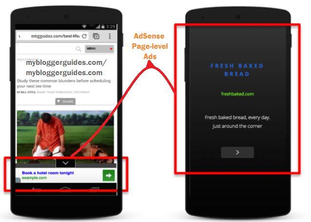 Actual look of AdSense Page-level ads on Mobile