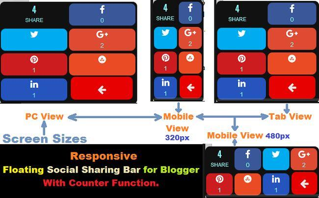 Responsive Style Floating Social Sharing Widget for Blogger