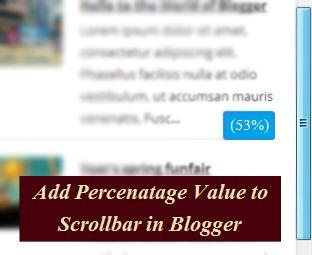 How To Add Scrollbar Percentage Value Function to Blogger?