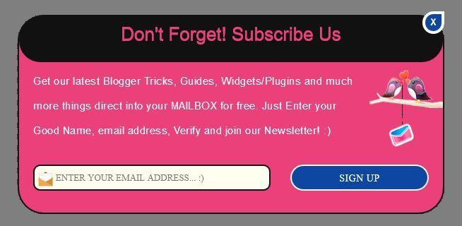 Stylish and Cute Cool looking popup email subscription box for blogger