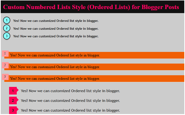 Customize Numbered Lists Style in Blogger Posts