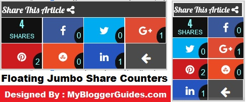 Horizontal Jumbo Share Counter, Jumbo Share Bar, Horizontal Share Bar for Blogger, Social Sharing widget for blogspot