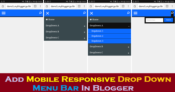 menu bar for blogger, responsive drops down navigation bar, Blogger Widgets, Blogger Plugins, Blogger Gadgets