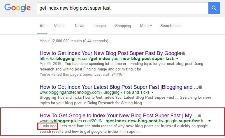 index new blog post quickly in google, index new blog post super fast