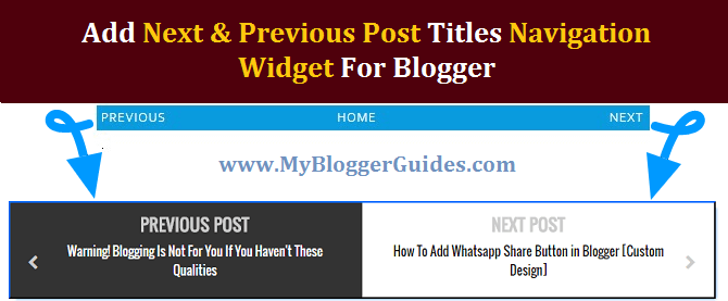 Add Next & Previous Post Titles Navigation Widget in Blogger