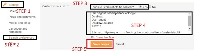 custom robots.txt file, robots.txt file setting, blogger setup custom robots.txt file in blooger