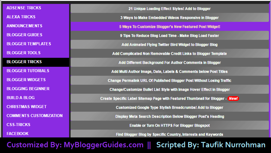HTML sitemap widget for blogger, table of content widget for blogger, blogger table of contents, HTML Sitemap Widget for Blogger Page