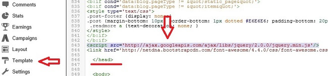 Add jQuery Library link, Sticky Sidebar Widget in Blogger, Floating Blogger Sidebar Widget, Make Fixed Sidebar Widget