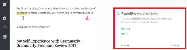 Repetitive Word Detection, Grammarly Review, Grammarly Premium Review 2017