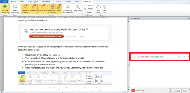 Grammarly MS Word Add-In, Grammarly Review
