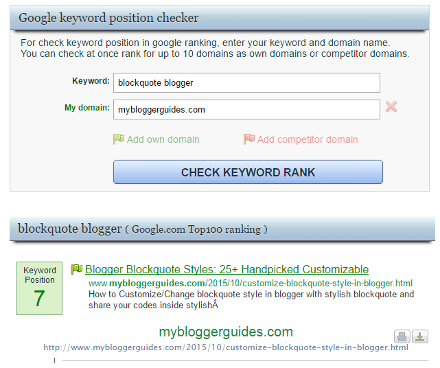 Google Rank Checker Tool, Keyword Position Checker Websites